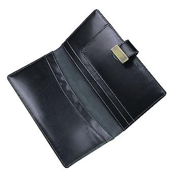Lederen erfgoed zwarte Travel Wallet