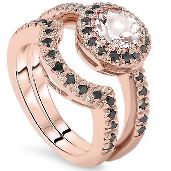 1 1/2ct Morganite & Black Diamond Halo Engagement Ring Set 14K Rose Gold