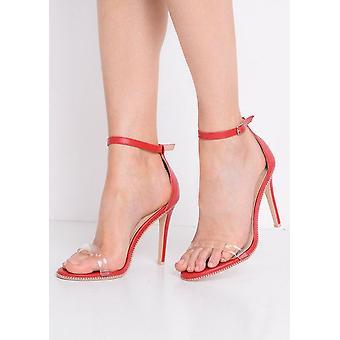 Cinta do perspex salto Stiletto sandálias vermelhas