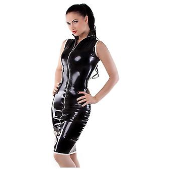 Westward Bound Piped Zip Front Pencil Latex Rubber Skirt