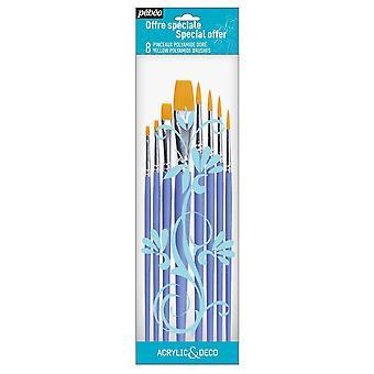 Pebeo akryl & Deco-sæt af 8 runde & flade pensler