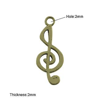 5 x Steampunk Antique Bronze Tibetan 26mm Music Note Charm/Pendant ZX07545