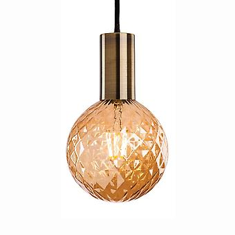 Firstlight Hudson 1 Antique Brass Pendant Supplied With Decorative Amber Glass LED Lamp 1