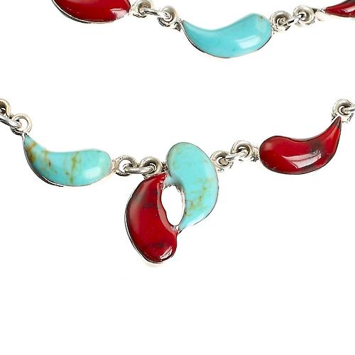 Turquoise Red Jasper Silver Necklace Set
