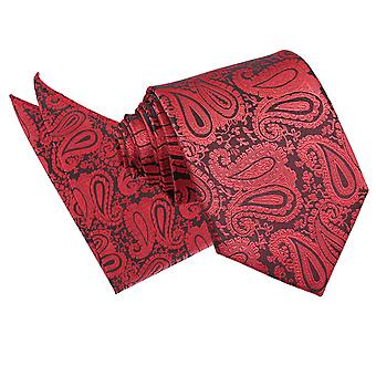 Black & Red Paisley Tie & Pocket Square Set