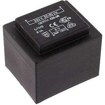 PCB mount transformer 1 x 230 V 2 x 15 V AC 8 VA 266 mA PTF423002 Gerth