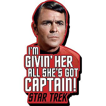 Scotty Star Trek Givin' Her All Quote Chunky Thick Fridge Magnet
