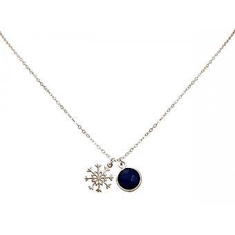 Dames - ketting - Hangers - sneeuwvlok - 925 zilver - sapphire - blauw - 1.3 cm