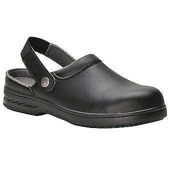 Portwest Mens Shirtlite Steel Toe Capped Safety Work Clog Black White