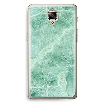 OnePlus 3T Transparent Case (Soft) - Green marble