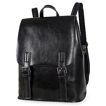 Black backpack in genuine cow leather, K8555S