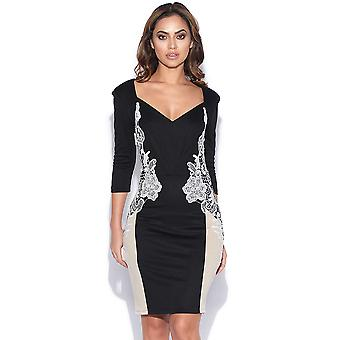 784d31d067f11b Long Sleeve Plunge Neck Lace Side Dress