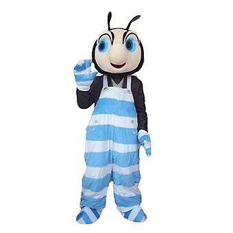 mascot SPOTSOUND insect black and pink, blue and white overalls