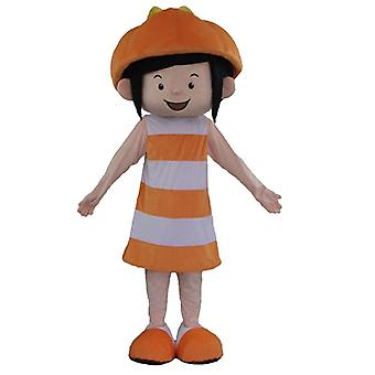 SPOTSOUND of smiling girl mascot, in orange and white outfit