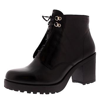 أحذية المرأة نعمة المتشرد أسود جلد أزياء العمل كتلة كعب الكاحل