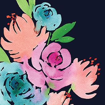 Navy Floral Square I Poster Print by Elise Engh