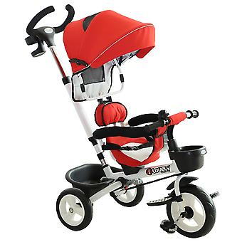 HOMCOM 4-in-1 Baby Tricycle Folding Stroller Kids Trike Detachable w/ Canopy Pushing Learning Bike Red
