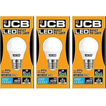 3 X JCB 6w LED E27 Golf Ball Bulbs Edison Screw, 40w Incandescent Bulb Equivalent, 470lm, Warm White 3000k , Non Dimmable, LED Edison Screw Golf Ball Light Bulbs, 220-240v[Energy Class A+]