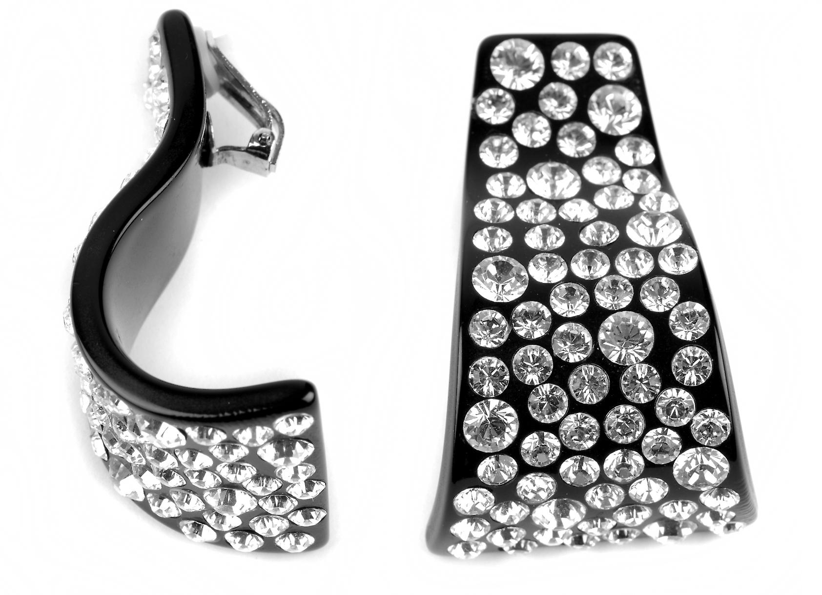 Waooh - Fashion Jewellery - WJ0798 - D'Oreille earrings with Swarovski Rhinestones Style Black Diamond on Mount Perspex
