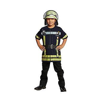Пожарная рубашка синий костюм дети пожарный костюм футболка