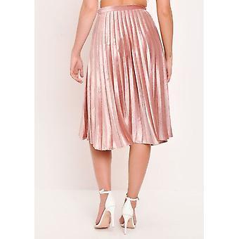 053df302d6 Velvet Pleated Midi Skirt Blush Pink