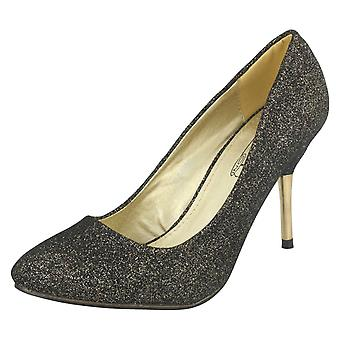 Ladies Spot On Court Shoes Black/Gold Size UK 3