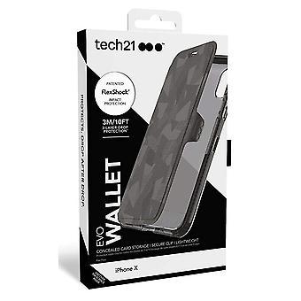 حقيقي Tech21 إيفو المحفظة انعكاس القضية تغطية إيفون X/فون XS-الأسود (T21-5860)