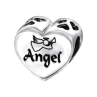 Heart Angel - 925 Sterling Silver Plain Beads - W13032X