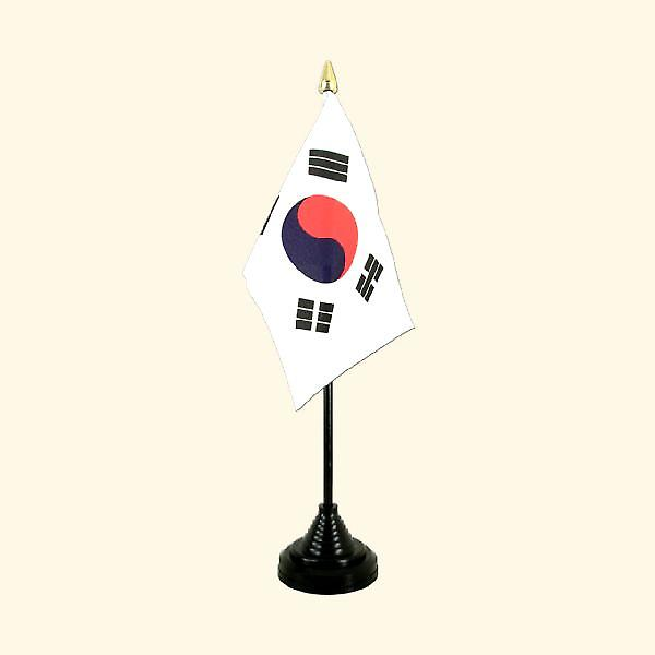 South Korea Table Flag with Stick and Base