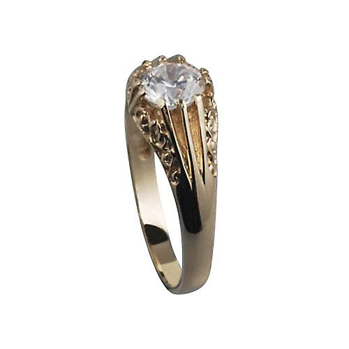 9ct Gold CZ set with carved shoulders dress Ring Size W