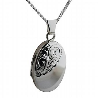 Silver 22x15mm half hand engraved oval Locket with a curb Chain 18 inches