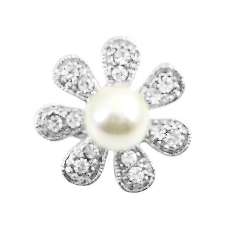 Sparkling Fully Encrusted Cubic Zircon 7 Petals Flower Brooch Pin