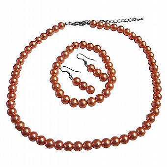 Striking Orange Pearl Complete Set With Bracelet Wedding Prom Jewelry Set Under $10 Smashing Jewelry Set
