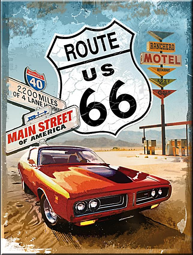 Route 66 Red Car steel fridge magnet   (na)