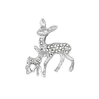 Eternal Collection Affection Diamante Silver Tone Deer Brooch