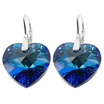 Ah! Jewellery Bermuda Blue Heart Crystals From Swarovski Earrings, Sterling Silver