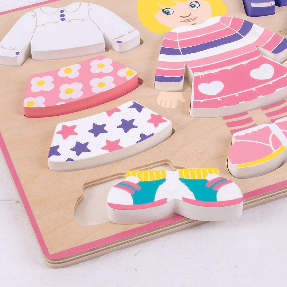 Bigjigs Toys Wooden Dressing Girl Jigsaw Puzzle Mix Matching Game Play Set