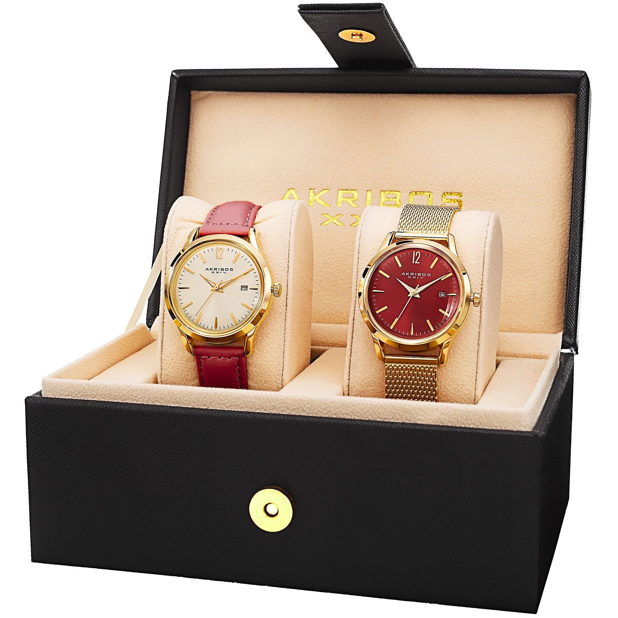 Akribos XXIV AK973RD-S femmesâ ™s Leather Strap Stainless Steel Bracelet Watch Set