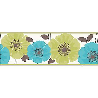 Flower Floral Wallpaper Border White Green Teal Luxury Modern Fine Decor