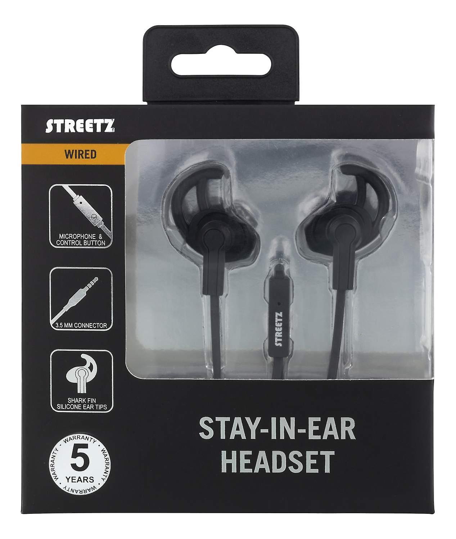 STREETZ stay-in-ear headset, svarsknapp, 3,5mm
