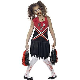 Girls Zombie Cheerleader Fancy Dress Halloween Costume with Blood Stained Dress & Pom Poms