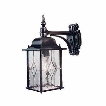 1 Light Outdoor Wall Lantern Light Black Silver Ip43