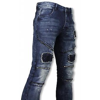 Exklusiv Biker jeans-Slim Fit zippade Biker jeans med Paint Drops-blå