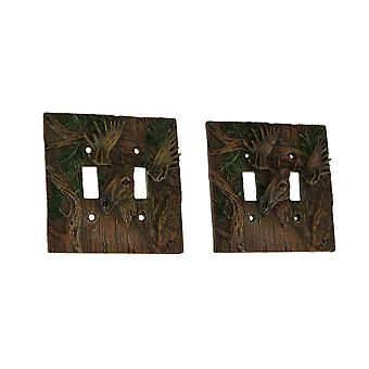 Rustieke Woodland Moose 2 Toggle muurplaat licht schakelaar cover set van 2
