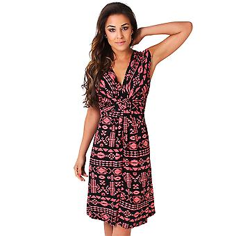 KRISP Womens Floral Aztec ruched Drape twist knude front kjole slips belted Party sommer