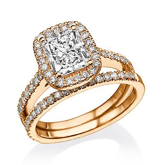 1.5 Carat F VS1 Diamond Engagement Ring 14K Rose Gold