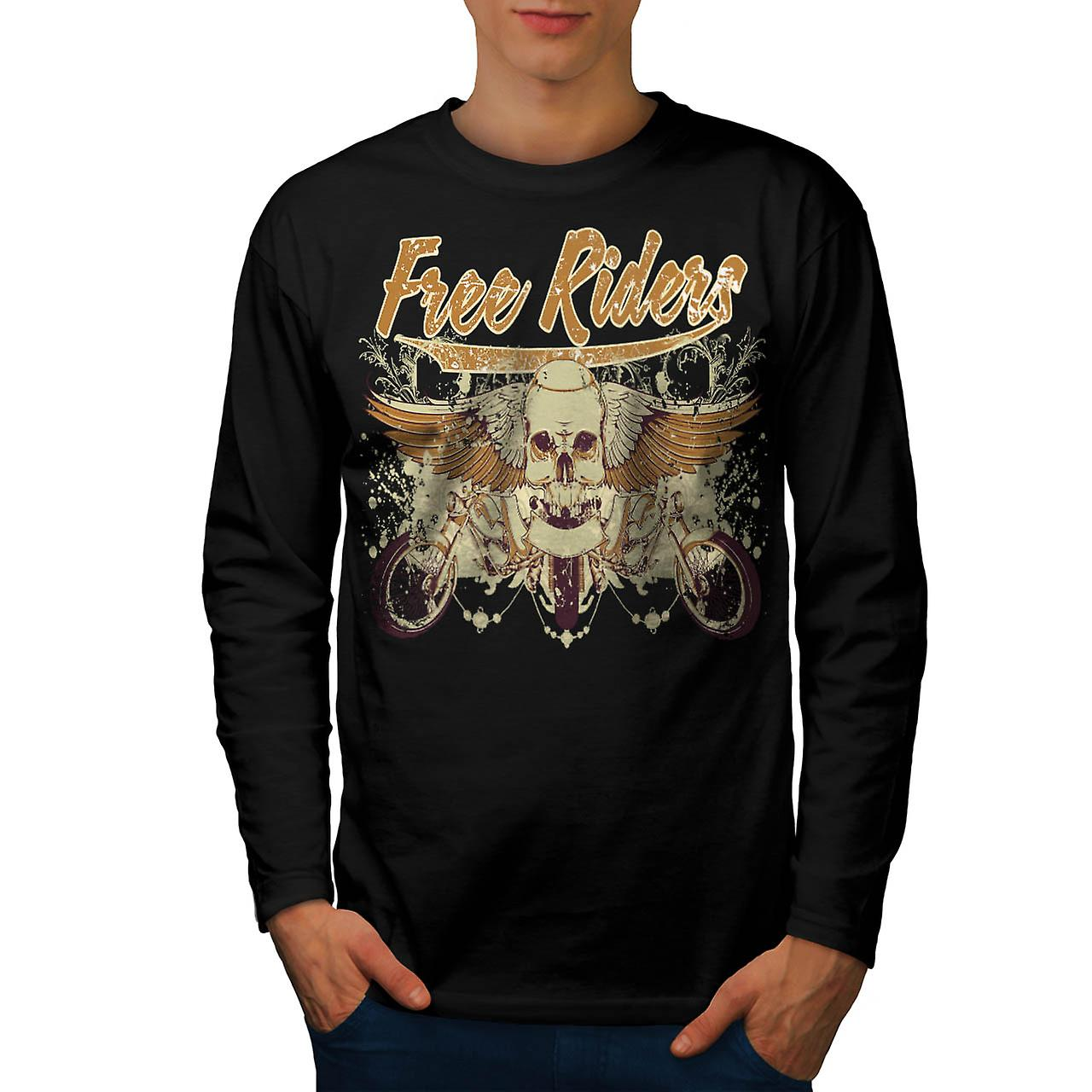 Free Rider Bike Gang Biker Life Men Black Long Sleeve T-shirt | Wellcoda
