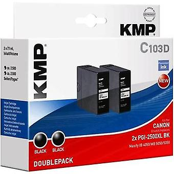 KMP Ink replaced Canon PGI-2500XL BK Compatible Pack of 2 Black 1565,0021