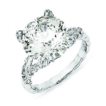 Sterling Silver Fancy CZ Ring - Ring Size: 6 to 8