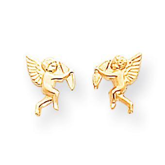 14 k Gelb Gold poliert Amor Screwback Ohrringe -.3 g - Maßnahmen 8x6mm